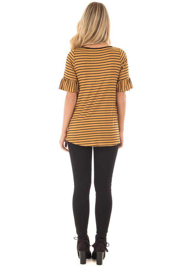 Gold and Black Striped Tee Shirt with Ruffled Short Sleeves back full body