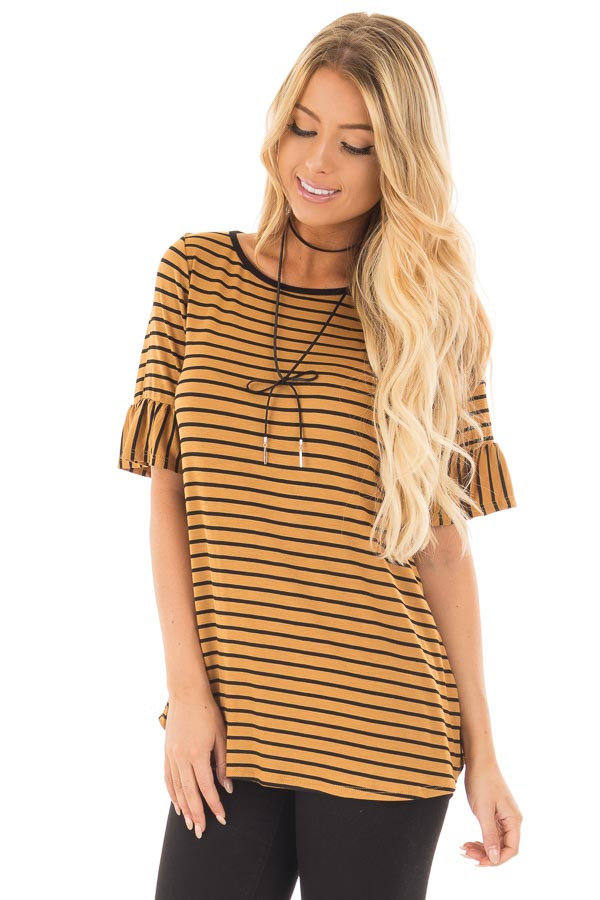 Gold and Black Striped Tee Shirt with Ruffled Short Sleeves front close up