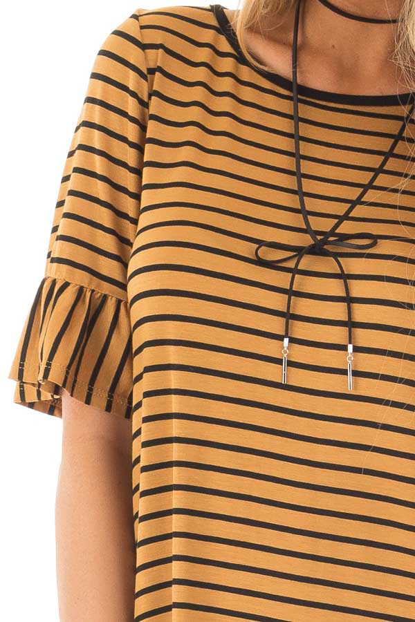 Gold and Black Striped Tee Shirt with Ruffled Short Sleeves detail