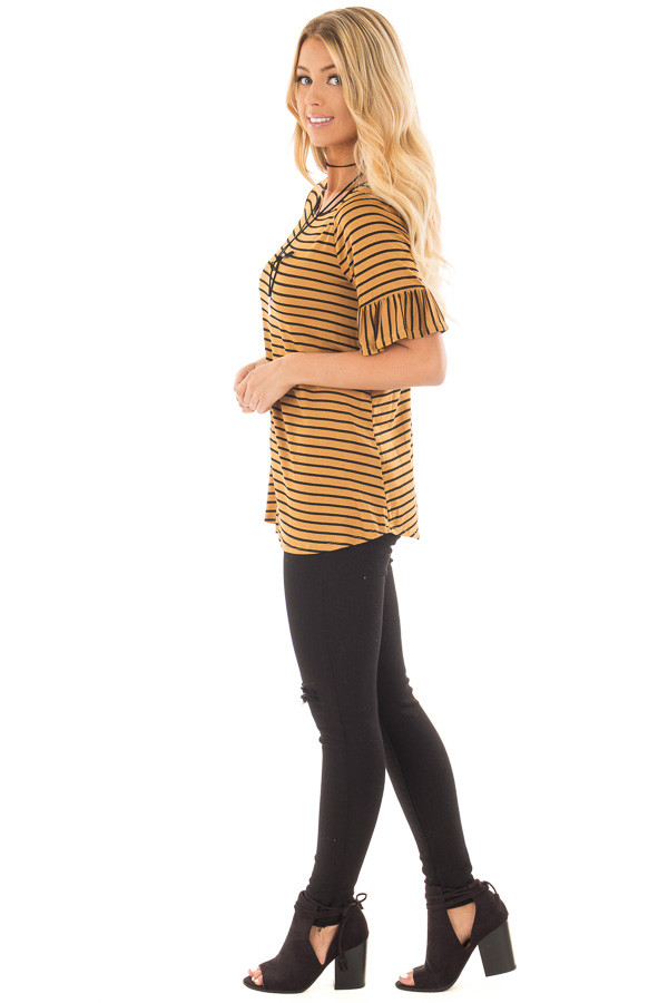 Gold and Black Striped Tee Shirt with Ruffled Short Sleeves side full body