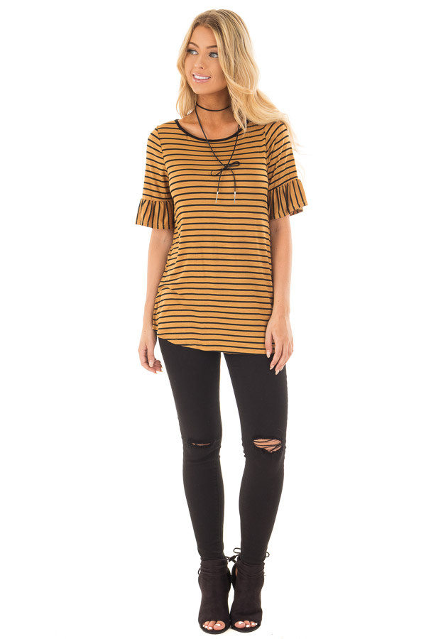 Gold and Black Striped Tee Shirt with Ruffled Short Sleeves front full body