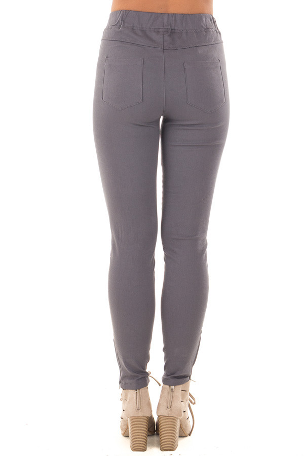 Charcoal Jegging with Moto Stitch Details and Side Zipper back view