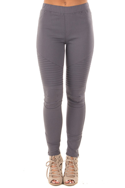 Charcoal Jegging with Moto Stitch Details and Side Zipper front view