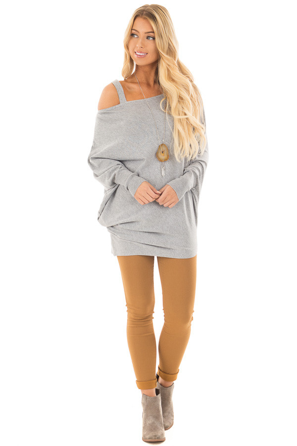 Heather Grey Cold Shoulder Asymmetrical Dolman Sweater front full body
