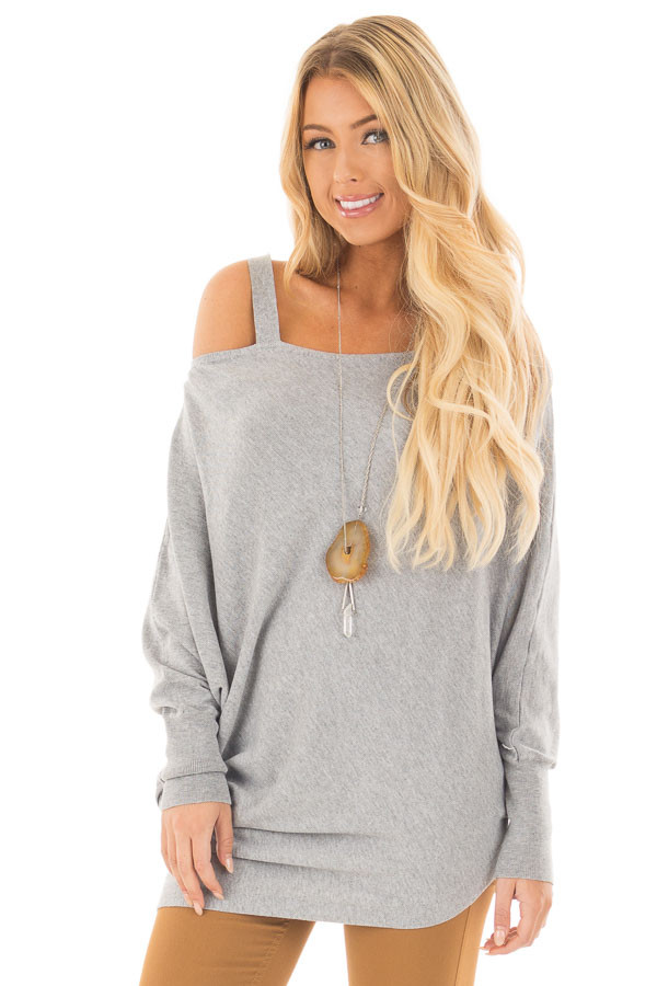 Heather Grey Cold Shoulder Asymmetrical Dolman Sweater front close up