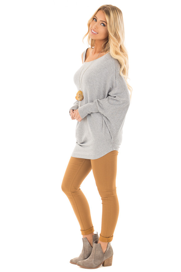 Heather Grey Cold Shoulder Asymmetrical Dolman Sweater side full body