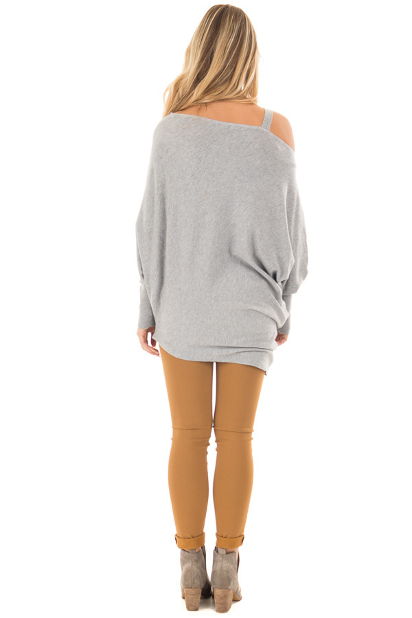 Heather Grey Cold Shoulder Asymmetrical Dolman Sweater back full body