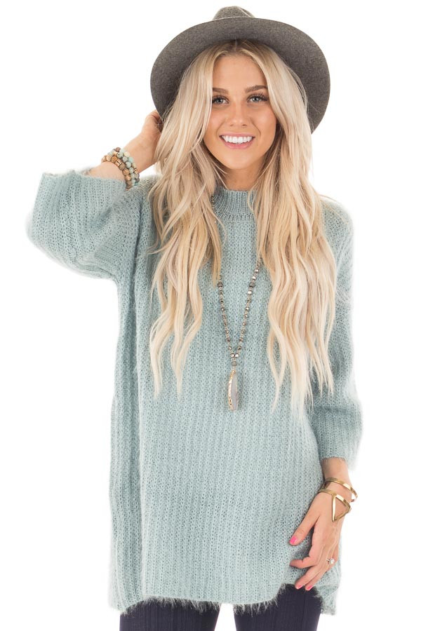 Dusty Blue Oversized Comfy Sweater front close up