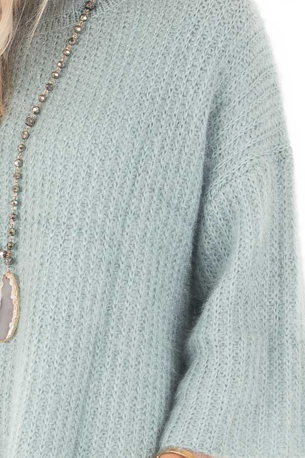 Dusty Blue Oversized Comfy Sweater detail