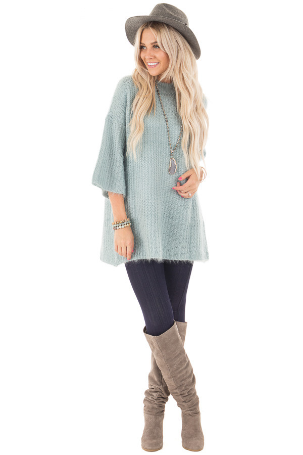 Dusty Blue Oversized Comfy Sweater front full body