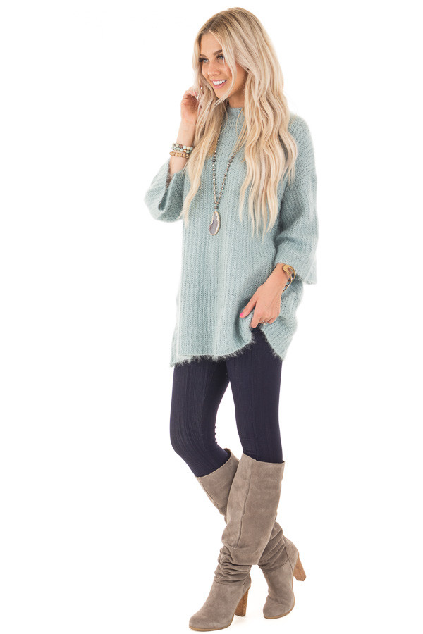Dusty Blue Oversized Comfy Sweater front side full body
