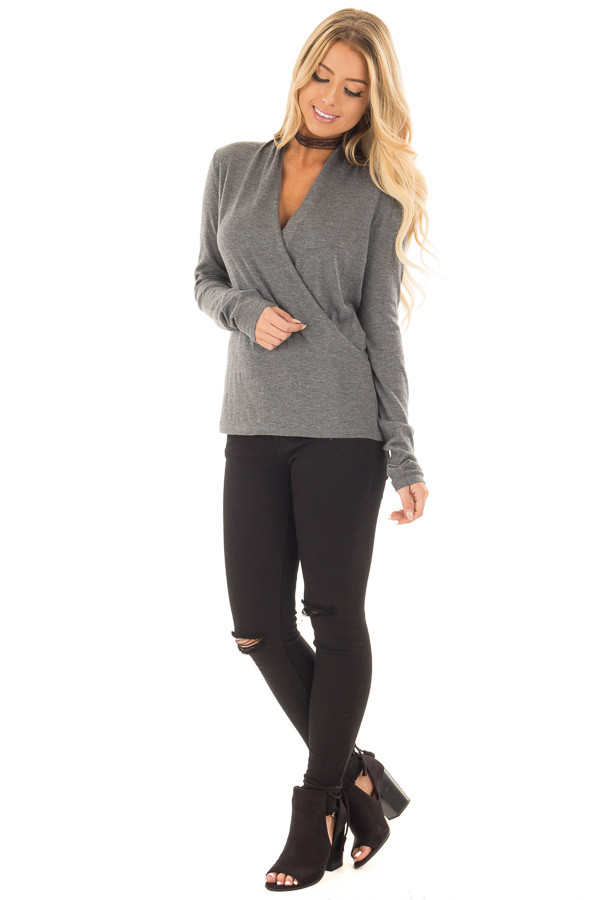 Charcoal Crossover Drape Long Sleeve Lightweight Sweater front full body