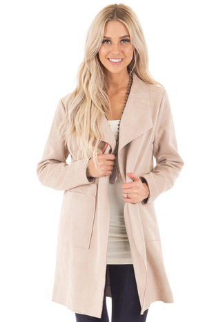 Dusty Blush Luxurious Faux Suede Long Coat front close up