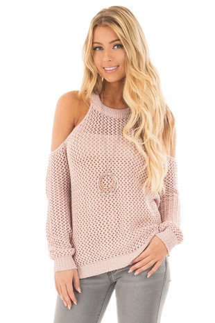 Blush Sheer Loose Knit Cold Shoulder Sweater front close up
