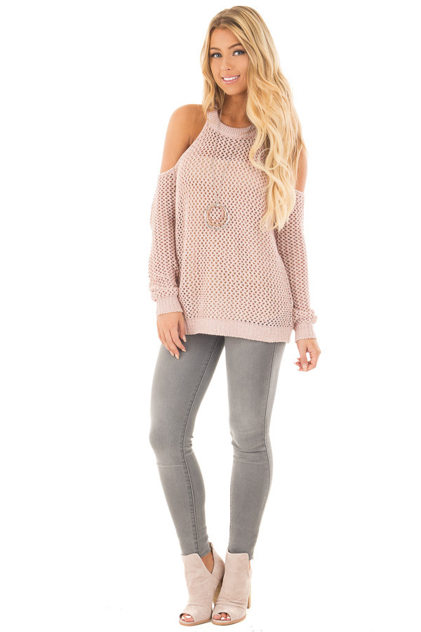 Blush Sheer Loose Knit Cold Shoulder Sweater front full body