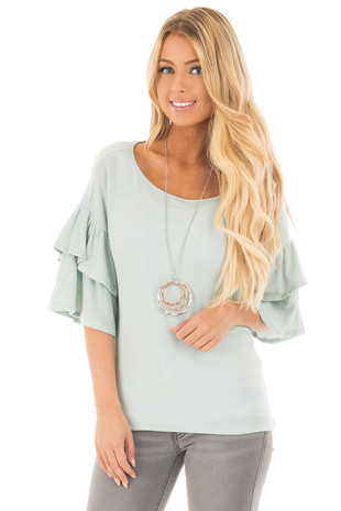 Mint Knit Thermal Top with Ruffle Sleeve Detail front close up