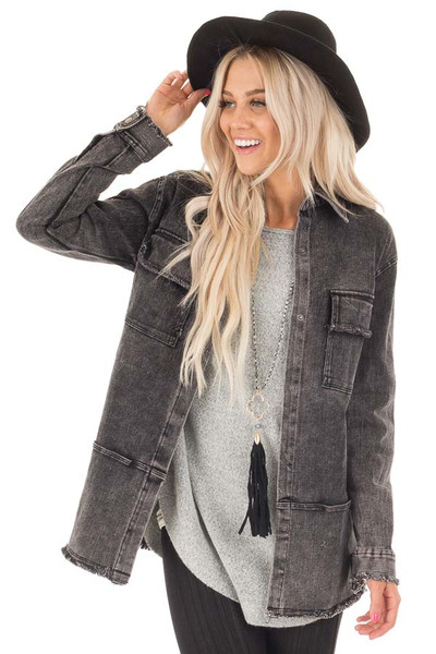 Ash Grey Mineral Wash Long Button Up Denim Jacket front close up