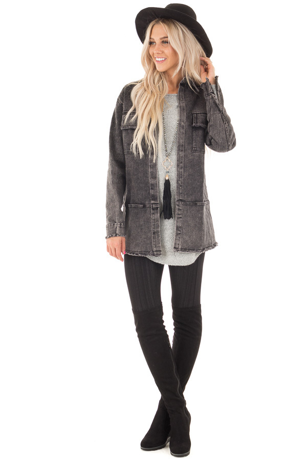 Ash Grey Mineral Wash Long Button Up Denim Jacket front full body