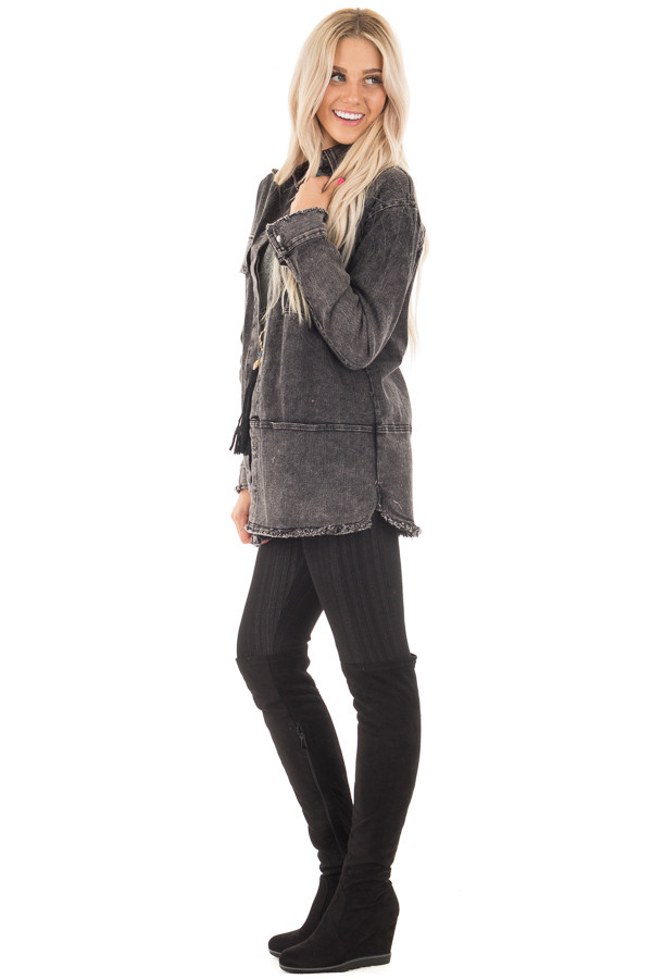 Ash Grey Mineral Wash Long Button Up Denim Jacket side full body