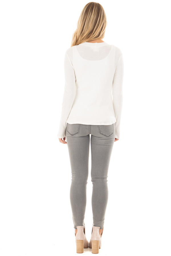Ivory Knit Thermal Top with T Strap Neckline back full body