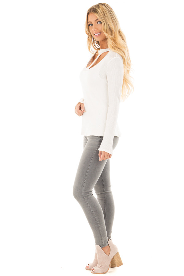 Ivory Knit Thermal Top with T Strap Neckline side full body