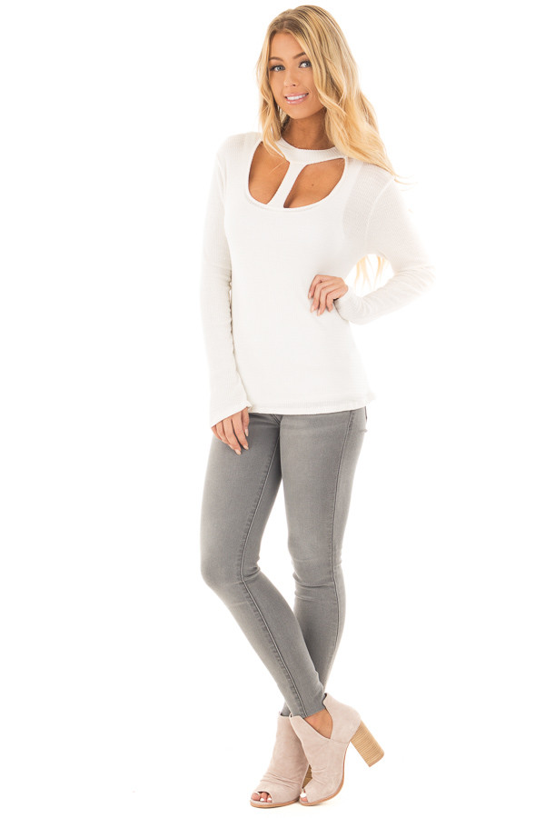 Ivory Knit Thermal Top with T Strap Neckline front full body