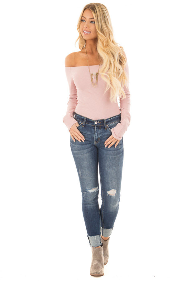 Dusty Rose Ribbed Off the Shoulder Bodysuit front full body