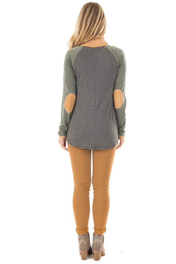 Charcoal and Olive Raglan Knit Top with Faux Suede Details back full body
