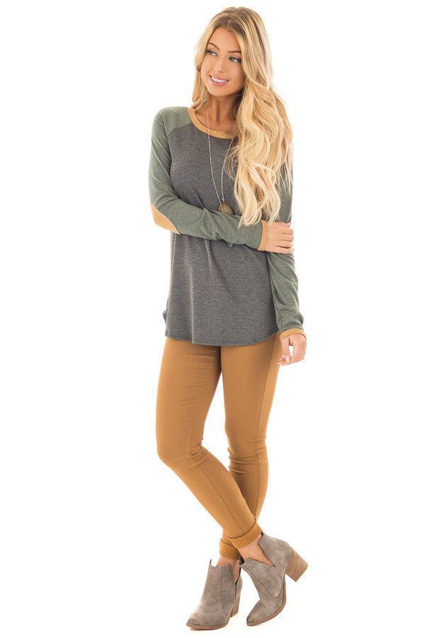Charcoal and Olive Raglan Knit Top with Faux Suede Details front full body