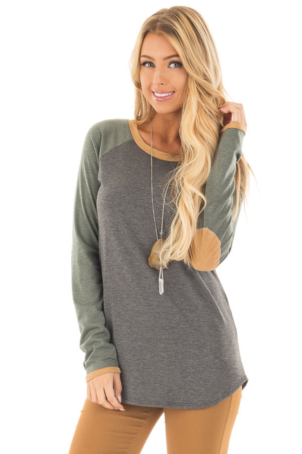 Charcoal and Olive Raglan Knit Top with Faux Suede Details front close up