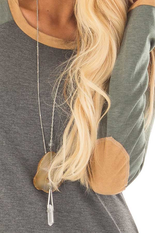 Charcoal and Olive Raglan Knit Top with Faux Suede Details detail