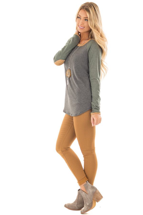 Charcoal and Olive Raglan Knit Top with Faux Suede Details side full body
