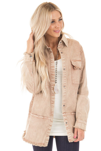 Dusty Rose Mineral Wash Long Button Up Denim Jacket front close up
