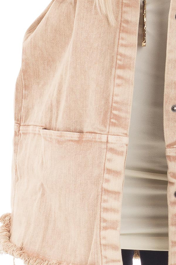 Dusty Rose Mineral Wash Long Button Up Denim Jacket detail