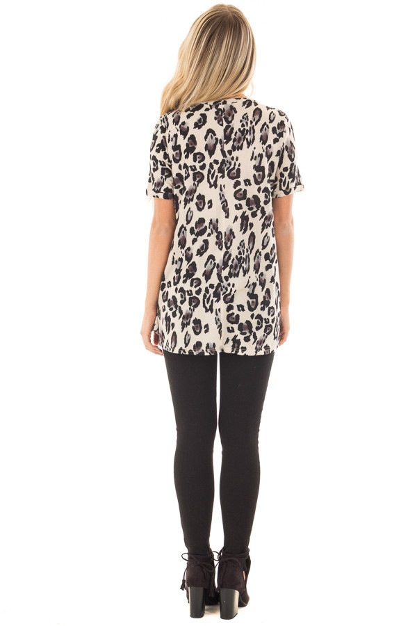 Cream and Grey Leopard Print Knit Short Sleeve Top back full body