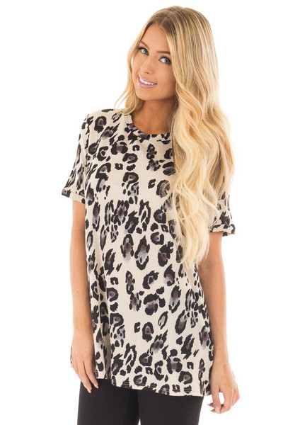 Cream and Grey Leopard Print Knit Short Sleeve Top front full body