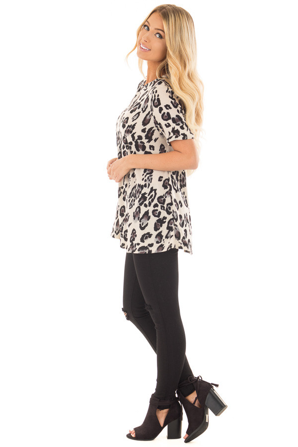 Cream and Grey Leopard Print Knit Short Sleeve Top side full body