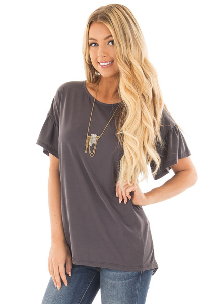Charcoal Ruffle Sleeve Tee with Split Back Detail front close up