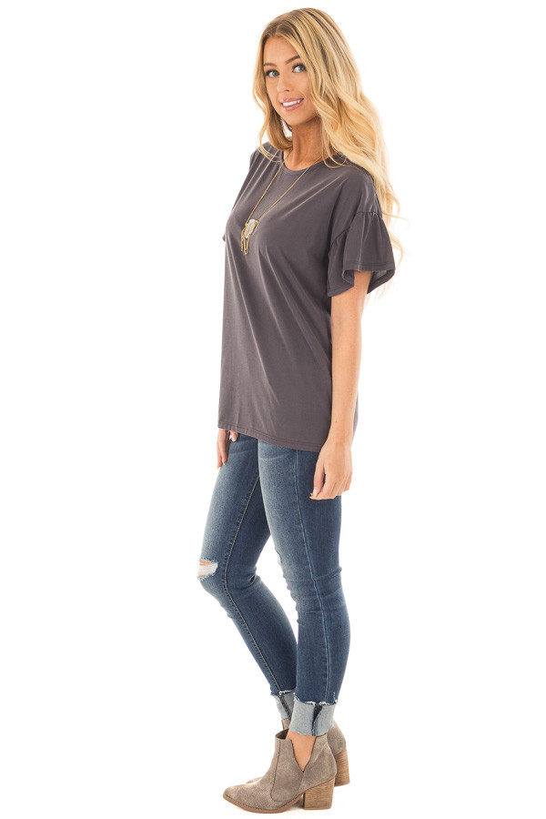 Charcoal Ruffle Sleeve Tee with Split Back Detail side full body