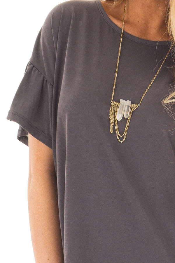 Charcoal Ruffle Sleeve Tee with Split Back Detail detail