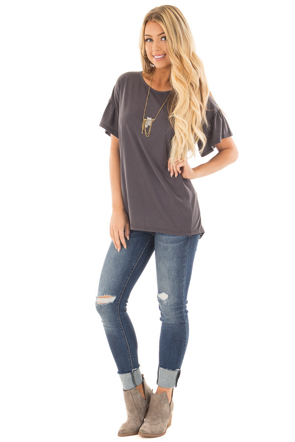 Charcoal Ruffle Sleeve Tee with Split Back Detail front full body