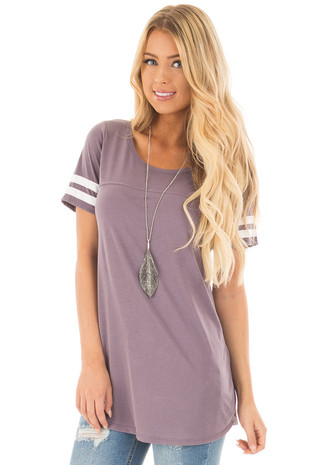 Dusty Violet Scoop Neck Tunic Tee with Striped Sleeve Detail front close up