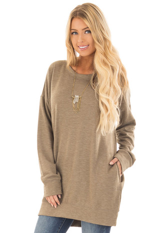 Olive Round Neck Sweater with Side Pockets front close up