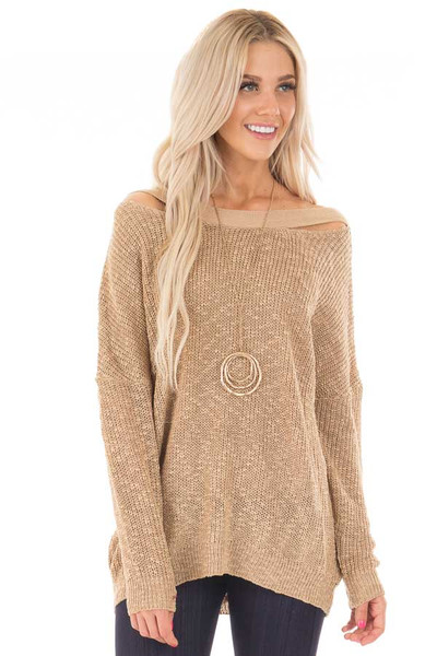 Mocha Loose Knit Sweater with Criss Cross Back front close up