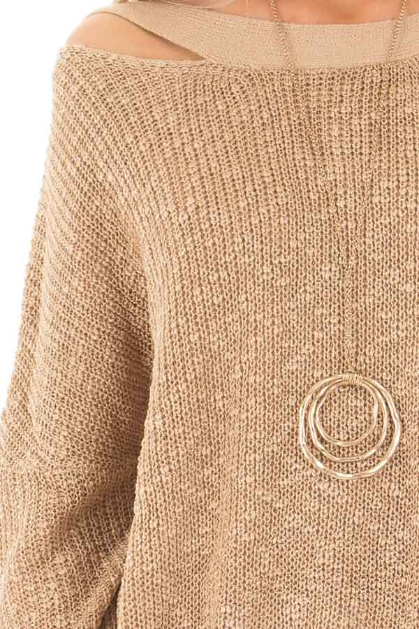 Mocha Loose Knit Sweater with Criss Cross Back detail
