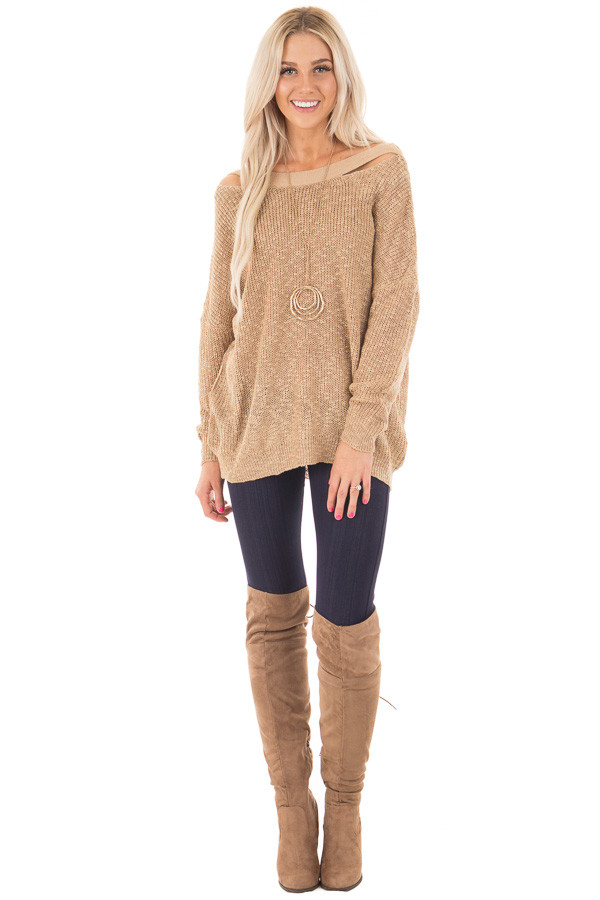 Mocha Loose Knit Sweater with Criss Cross Back front full body