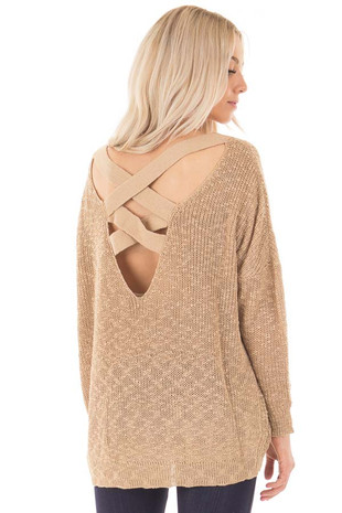 Mocha Loose Knit Sweater with Criss Cross Back back side close up