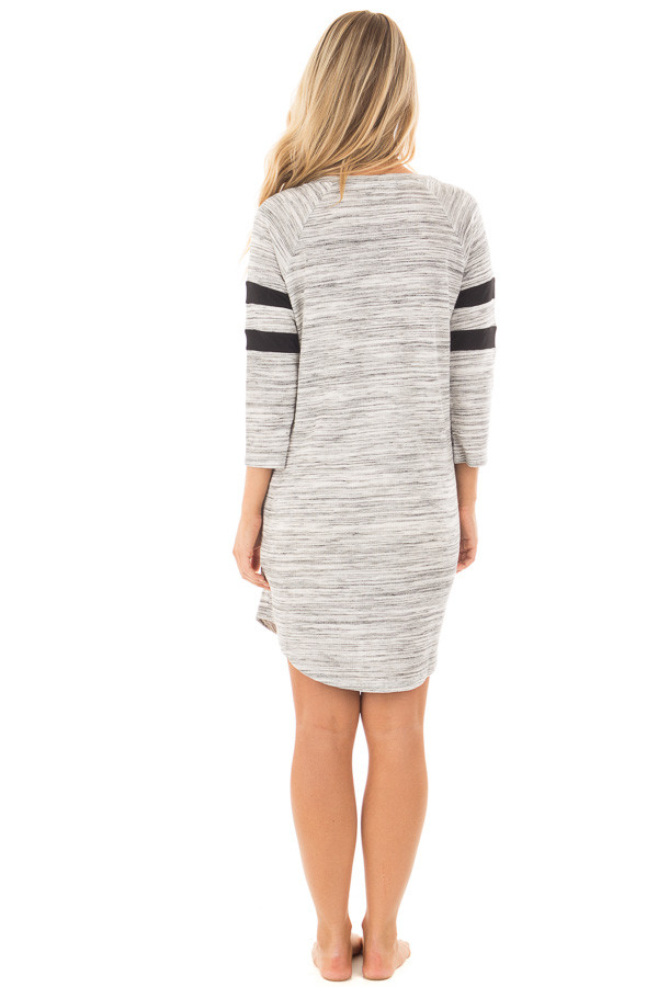 Heather Grey Two Tone Knit Dress with Striped Sleeve Detail back full body