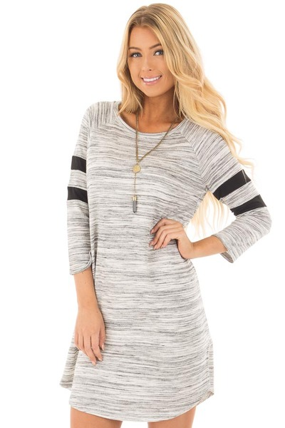 Heather Grey Two Tone Knit Dress with Striped Sleeve Detail front close up