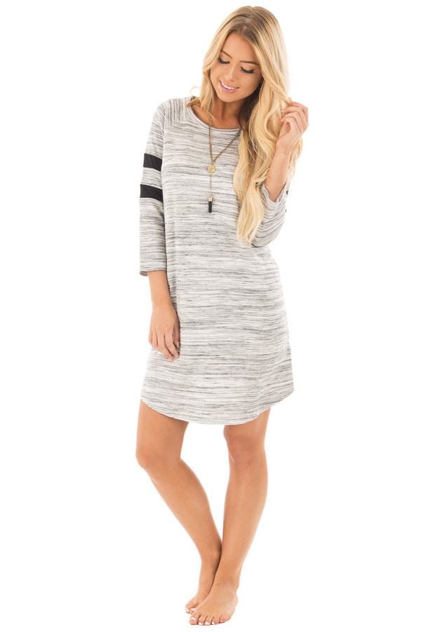 Heather Grey Two Tone Knit Dress with Striped Sleeve Detail front full body